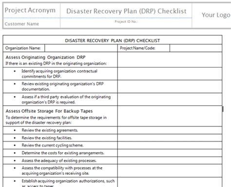 recovery plan template disaster recovery planning checklist