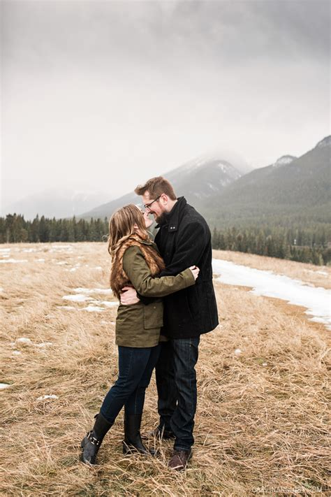haircut creekside calgary kananaskis mountain engagement photos dan bonnie