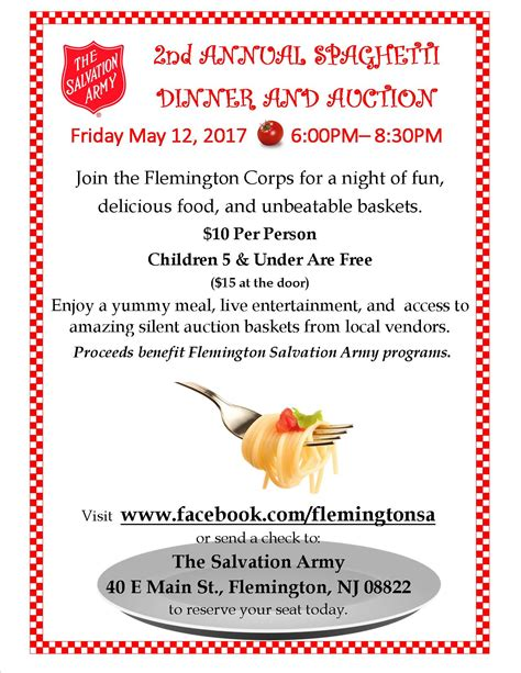 auction 1 salvation army spaghetti dinner and silent auction benefits the salvation