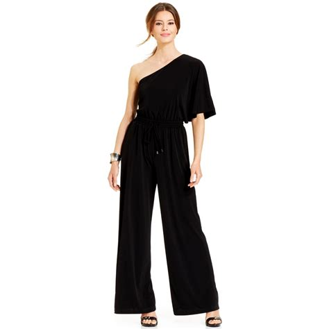 One Jumpsuit by Vince Camuto Wide Leg One Shoulder Jumpsuit In Black Lyst