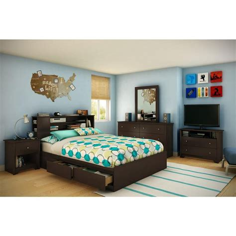 queen bed box south shore bel air queen mates bed box chocolate the