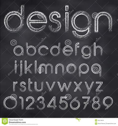design font blackboard vector sketched font stock vector image of design ornate