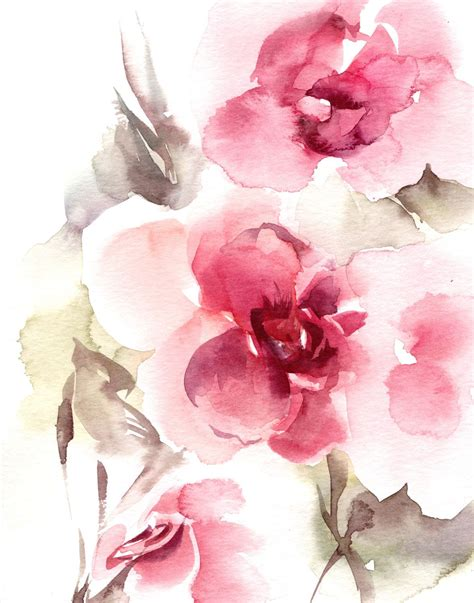 Abstract Flowers abstract flowers watercolor painting print pink
