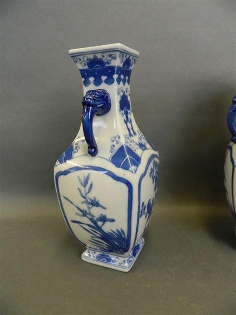 Antique Porcelain Blue And White Porcelain Square Vase Home Accessories Decoration A Pair Of Square Form Blue And White Porcelain Vases