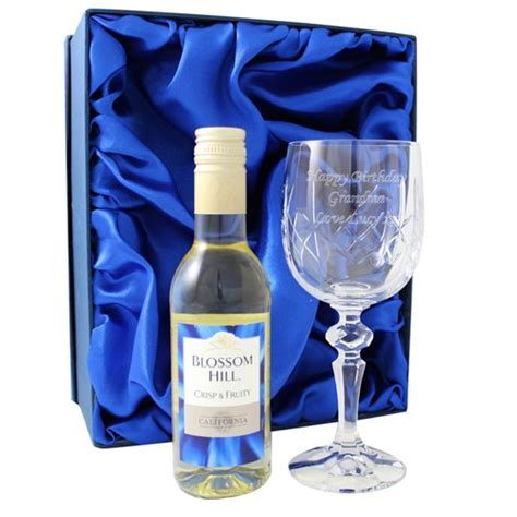 personalised crystal wine glass and white wine gift set