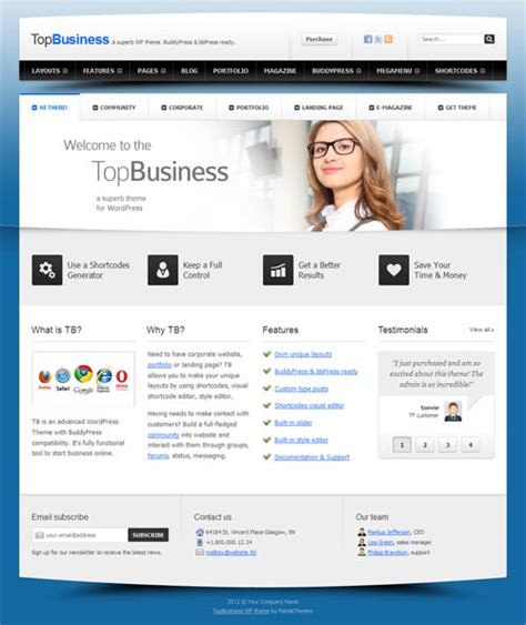 wordpress templates for it business top business an advanced wordpress theme with buddypress