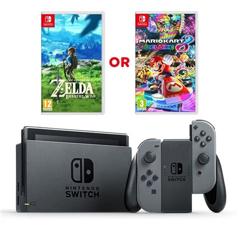 Nintendo Switch Grey Bundle 1 Free Pouch And Screen Protector nintendo switch grey console one select nintendo switch console bundle deals uk