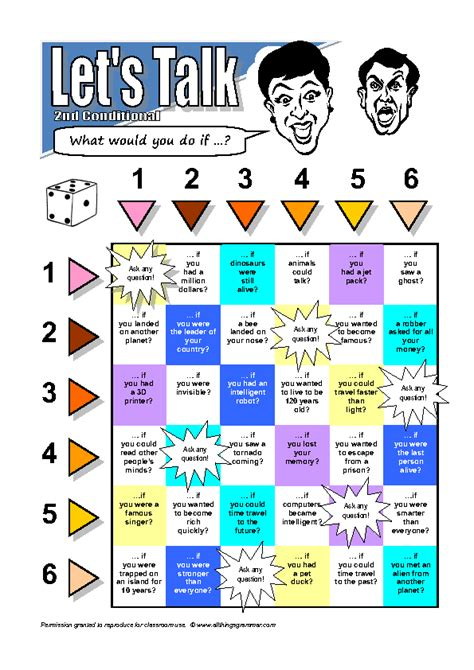 printable board games com second conditional board game activity