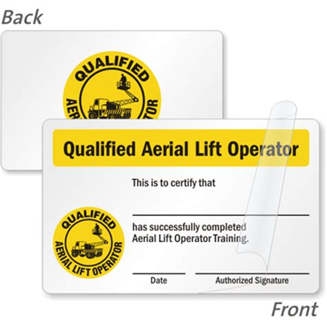 Wallet Size Certification Card Template by Qualified Aerial Lift Operator Certification Wallet Card