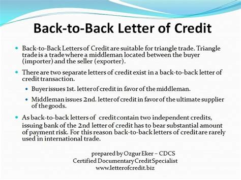 Letter Of Credit Back To Back Types Of Letters Of Credit Presentation 7 Lc Worldwide International Letter Of Credit