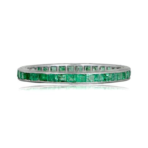 Antique Wedding Bands by Antique Emerald Platinum Wedding Band Circa 1925