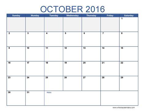 Calendar October 2016 October 2016 Calendar