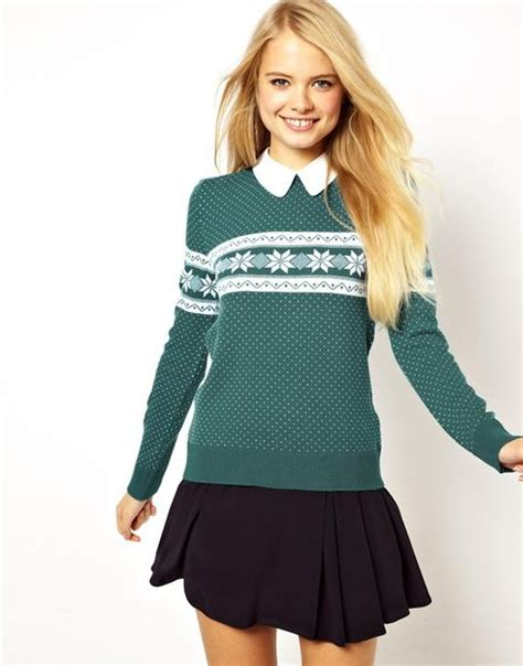 snowflake pattern jumper asos holiday sweater in snowflake pattern with collar in