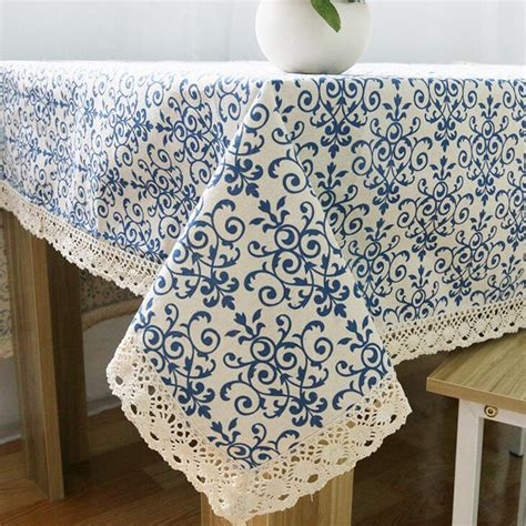 classic linen cotton table cloth blue flower printed table