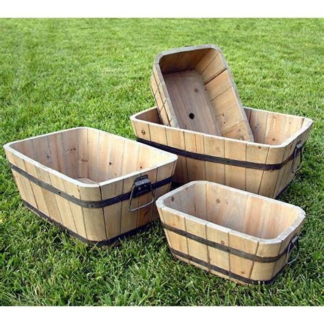 Wood Planter Barrels by Shine Company Rectangle Cedar Wood Barrel