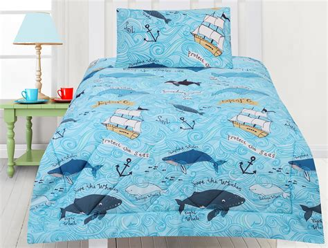 whales comforter set quilt doona kids bedding nautical