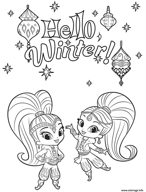 nick jr winter coloring pages shimmer and shine coloring pages printable coloring page