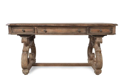 """66"""" Traditional Scrolled Leg Writing Desk in Brown   Mathis Brothers Furniture"""