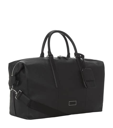 black leather weekender bag calvin klein leather weekender bag in black for lyst