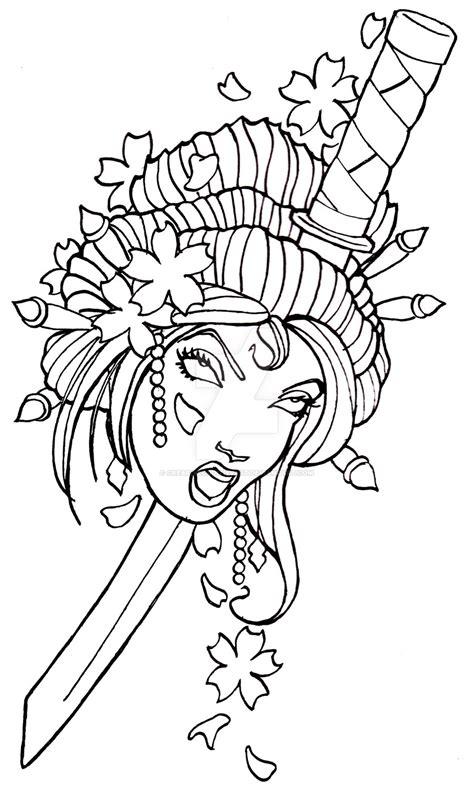 traditional geisha tattoo flash geisha tattoo design by creativeodditiesart on deviantart