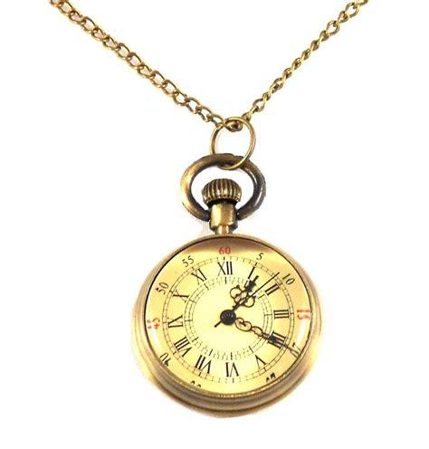 mini pocket necklace on chain brass steunk
