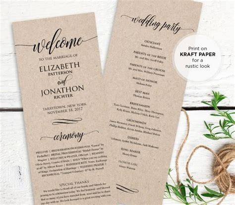 free order of service wedding template wedding program printable order of service rustic
