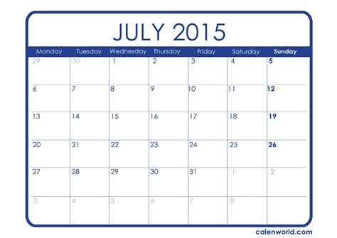 printable weekly calendar july 2015 july 2015 calendar printable calendars