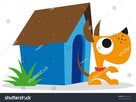 blue dog house orange dog and blue dog house stock vector illustration
