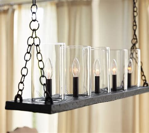 Linear Candle Chandelier Rochester Linear Chandelier Pottery Barn
