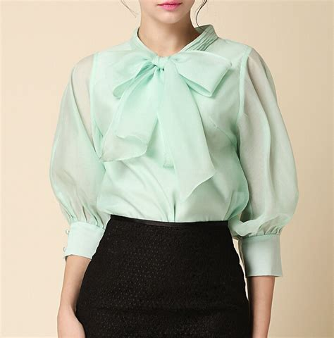 Womens Black Blouse With White Collar by Blouses 2015 Autumn New Fashion Bow Collar