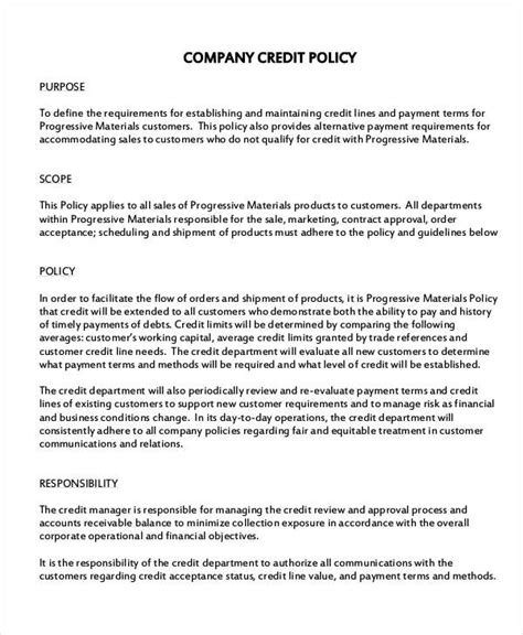 template of credit card policy company policy template 10 free pdf documents