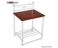 Nachttisch Metall Weiß