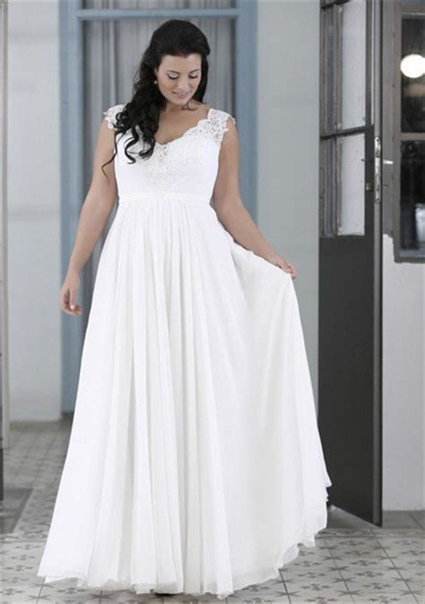 Plus Size Chiffon Bridal Gown w/ Lace Straps & Empire Waist