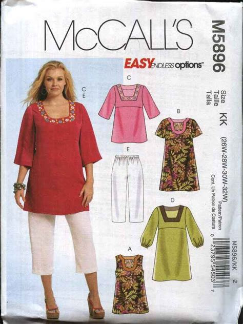 sewing pattern plus size mccall s sewing pattern 5896 womans plus size 18w 24w easy