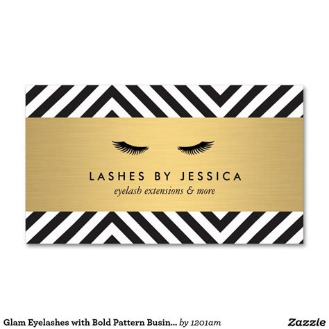 Eyelash Extension Business Card Template by Glam Eyelashes With Bold Pattern Business Card Template
