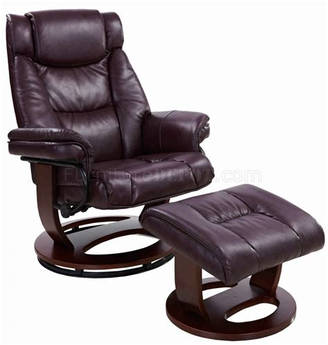 reclining chair with ottoman savuage bordeaux bonded leather modern recliner chair w