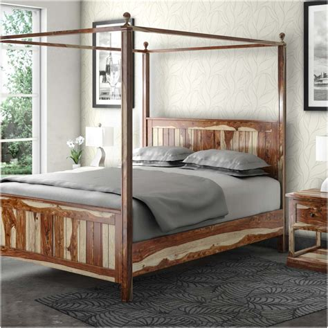 Wood Canopy Bed Dallas Ranch Rustic Solid Wood Platform Canopy Bed