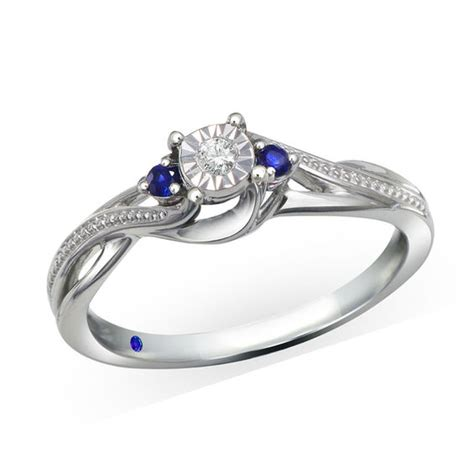 Blue Sapphire Ring V cherished promise collection accent and blue
