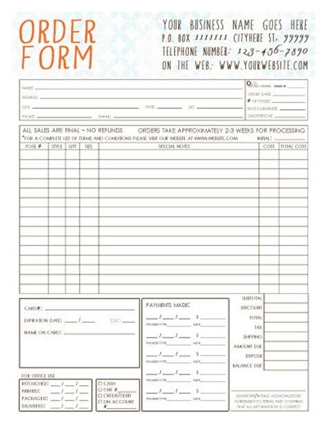 Credit Card Purchase Log Template by General Photography Sales Order Form Template Available
