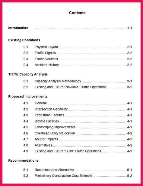 table of contents apa style template apa style table of contents sop exles