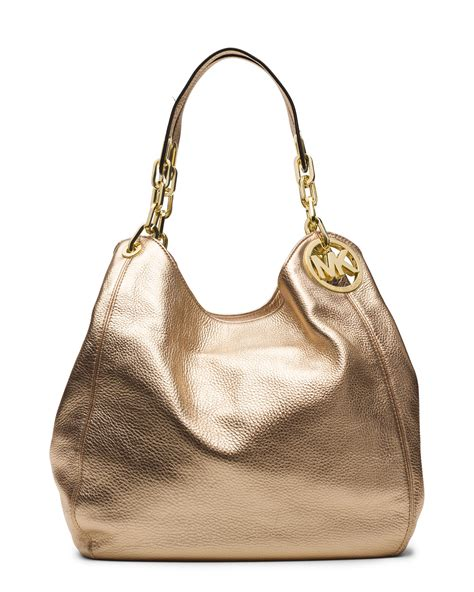 Michael Kors Fulton Large Shoulder Bag Pale Gold michael michael kors large fulton shoulder tote in gold