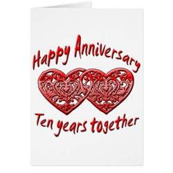 10th anniversary greeting card zazzle