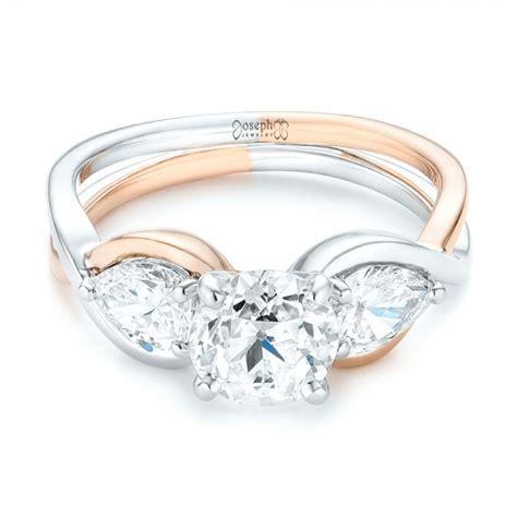 custom two tone three engagement ring 102912