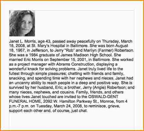 Obituary Template For Newspaper by Sle Obituary For Template Business