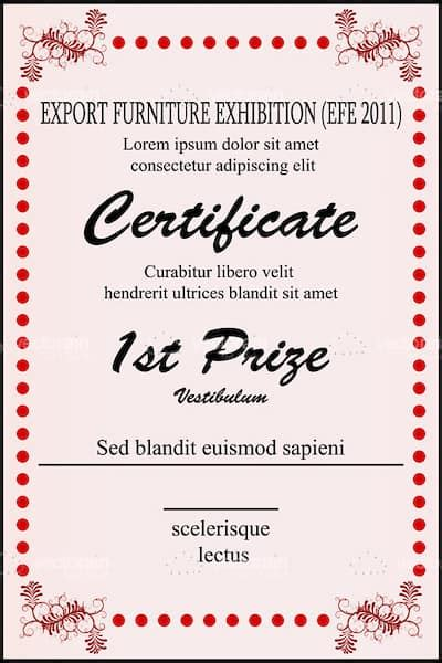 first prize certificate template 1st prize certificate template with sle text