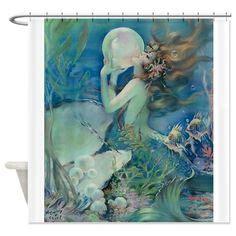 Mermaid Badezimmerdekor by Four Seasons Digital Vintage Alphonse Mucha