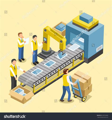 design by manufacturing robotic production line concept in 3d isometric flat