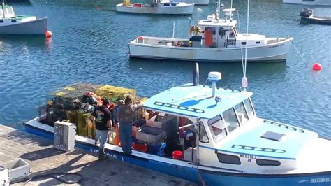 lobster boat videos lobster boats unloading their catch in maine youtube