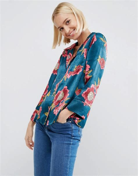 Blouse Pijamas Flower asos satin pyjama blouse in bright floral in blue lyst