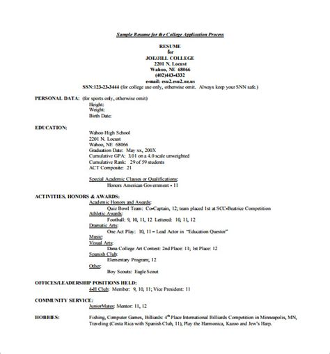 college admissions resume template college resume template 10 free word excel pdf format